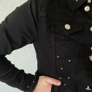 Katoen Spijkerjasje zwart Maat S